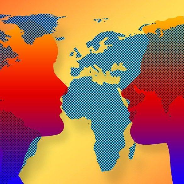 man, woman, continents